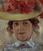 Lovis Corinth Mrs. Halbe with a Straw Hat