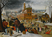Pieter Brueghel the Younger Winter Landscape with Skaters