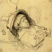 Rembrandt Bust of a Sleeping Child