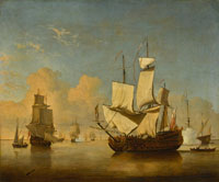 Willem van de Velde the Younger and Studio - An English Man-of-war Coming to Anchor in a Light Air