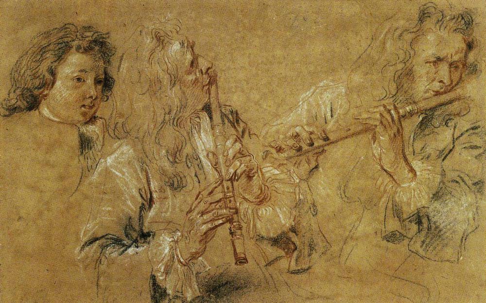 Jean-Antoine Watteau Reproduction Two Studies of a Flutist Fine Art Print