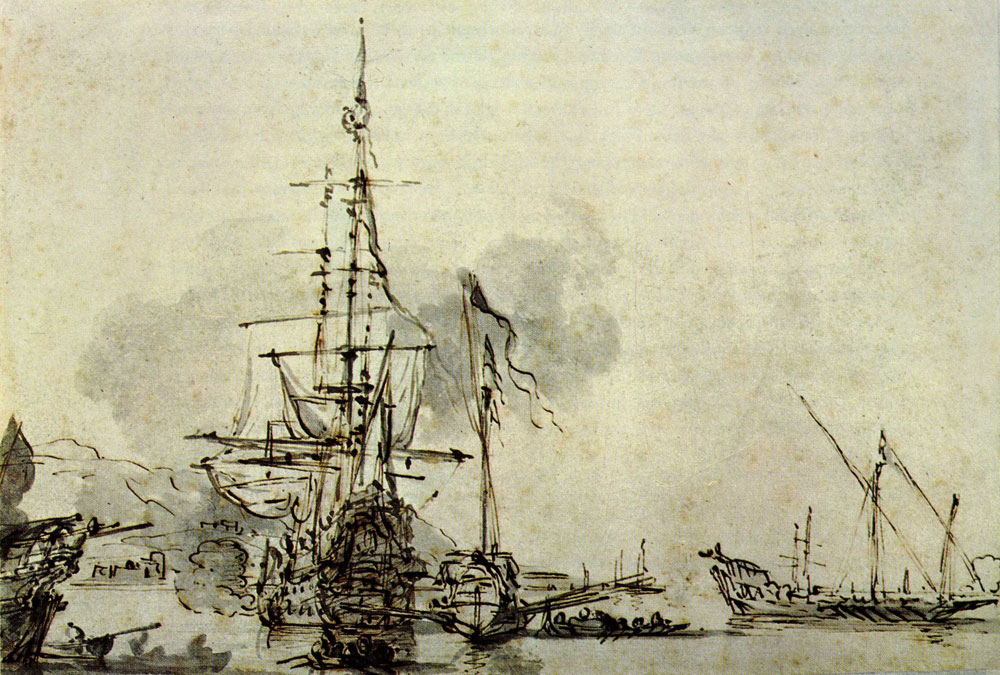 Willem van de Velde the Younger - Shipping in a Mediterranean Harbour
