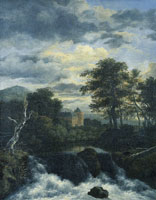 Jacob van Ruisdael Waterfall with a Castle in a Wood
