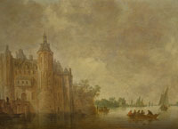 Jan van Goyen - Figures in a Rowing Boat on a Wide River before a Large Castle