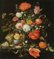 Jan Davidsz. de Heem Flower Still Life with a Bowl of Fruit and Oysters