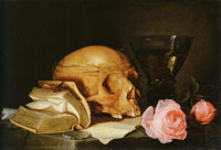 Attributed to Jan Davidsz. de Heem Vanitas Still Life with a Skull, a Book and Roses