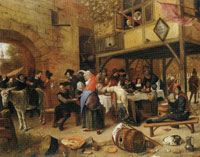 Jan Steen Company before an Inn, 'Not without that'
