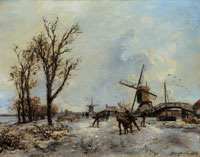 Johan Barthold Jongkind - Three Ice Skaters near a Mill