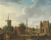 Isaac Ouwater the Younger Purmer and Monnikendammerpoort, Edam with the Kwakelbrug with the spire of the Onze-Lieve-Vrouwe-kerk beyond