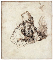 School of Rembrandt A Bearded Elder Wearing a Tall Hat, Resting