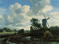 Jacob van Ruisdael Evening Landscape: A Windmill by a Stream