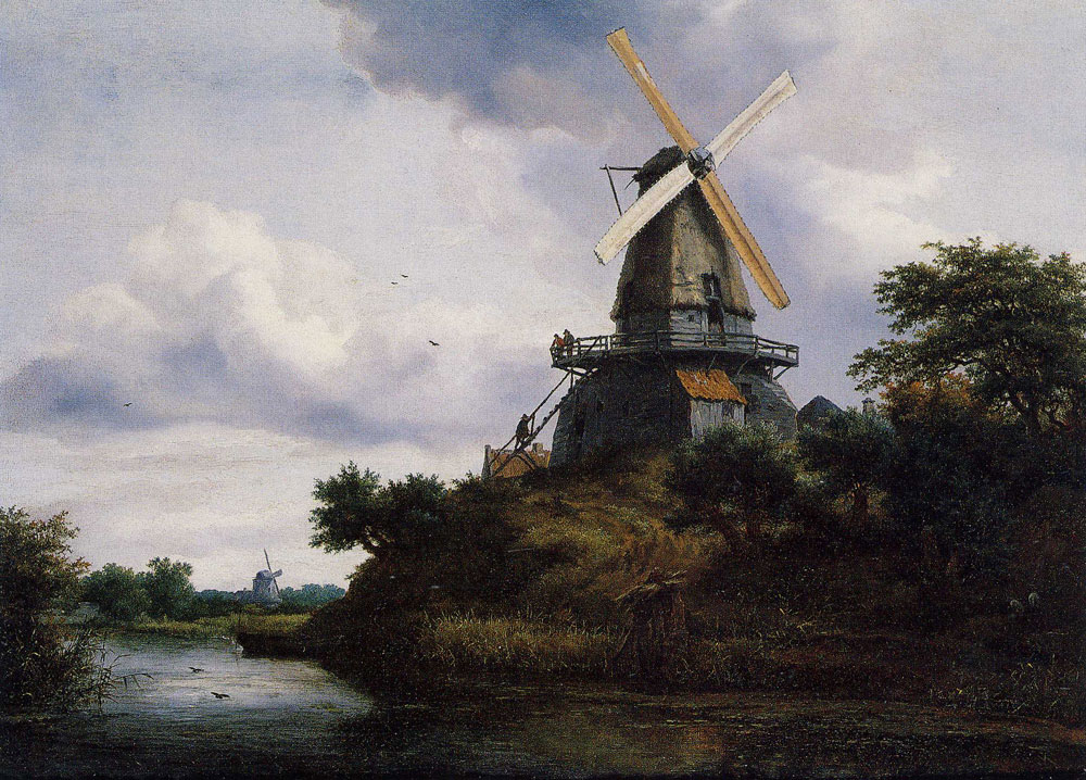 Jacob van Ruisdael - Windmill on a River Bank
