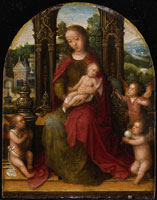 Adriaen Isenbrant The Virgin and Child Enthroned with Angels before a Landscape
