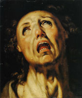 Cornelis van Haarlem Study of the Head of a Screaming Man