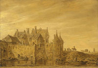 Jan van Goyen A view of a city gate, possibly the Oostpoort in Delft