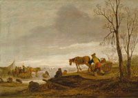 Isaac van Ostade A winter landscape with figures on a frozen river