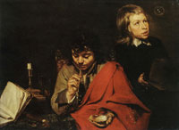 Jacob van Oost the Elder Two Boys Blowing Bubbles
