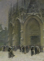Leon Jules Lemaitre The Chrurch of Saint-Maclou, Christmas Day
