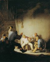 Adriaen van Ostade Peasants Drinking and Making Music in a Barn