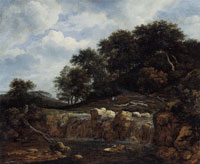 Jacob van Ruisdael Waterfall and a High Wooded Hill