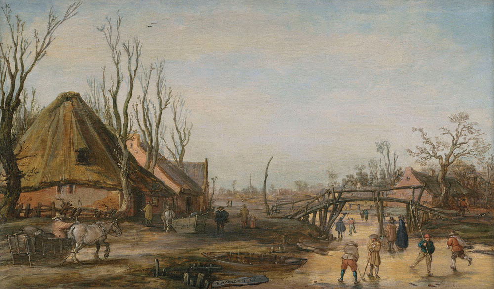 Esaias van de Velde - Winter landscape with a farmhouse, skaters and kolf players on a frozen stream