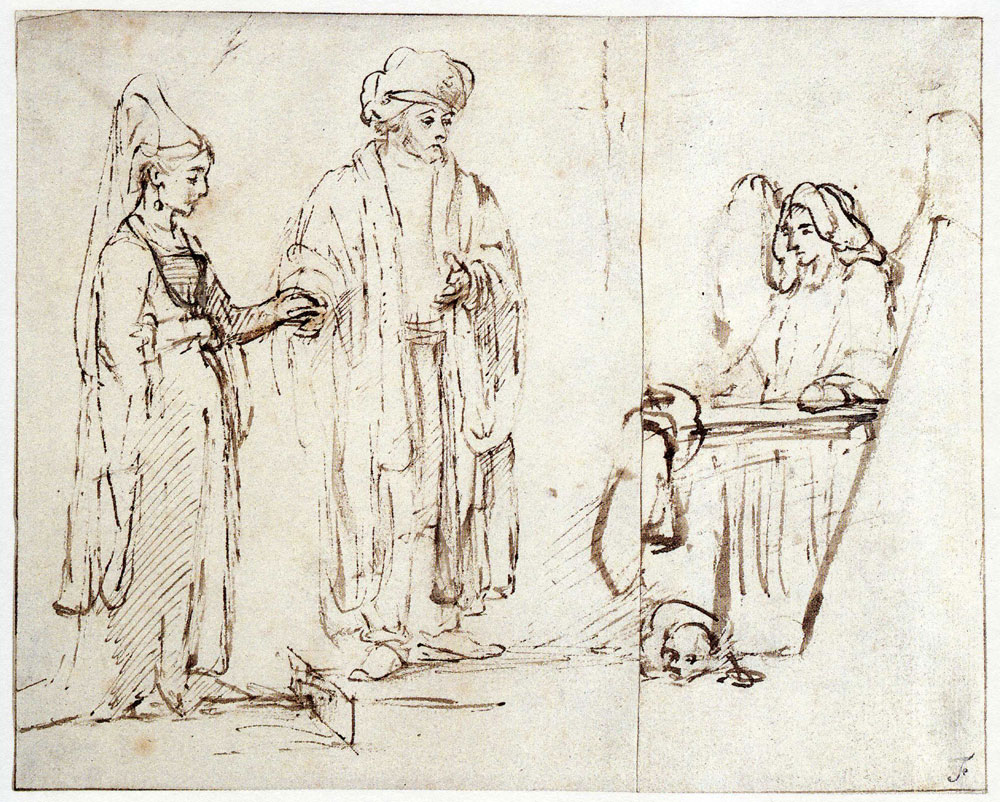 Rembrandt - Leban brings Leah to Jacob, with Jacob overlaid by a fragment of another drawing, an angel with a dog llying at his feet