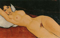 Amedeo Modigliani Reclining Nude on a White Cushion