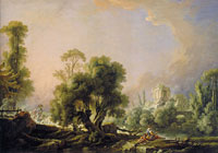 François Boucher Idyllic Landscape with Woman Fishing