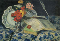 Armand Guillaumin - Still Life of Flowers, Faïence and Books