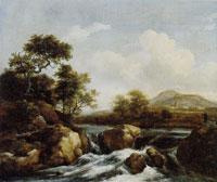 Jacob van Ruisdael Waterfall with a Distant View of a Town