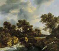Jacob van Ruisdael Waterfall in a Wooded Landscape