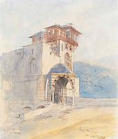 Edward Lear - The portico entrance of a monastery, possibly Vatopaidi, Mount Athos