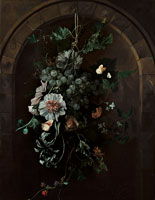 Rachel Ruysch A swag of grapes, hollyhocks, irises, mallow, African marigolds, clematis, a horse chestnut and blackberries with butterflies and other insects suspended before a stone arch