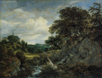 Jacob van Ruisdael - Small Waterfall in a Hilly Landscape with a Chapel