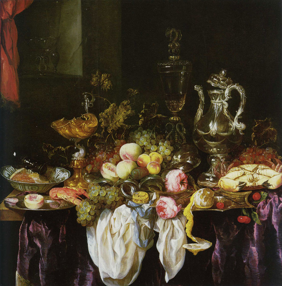 Abraham van Beijeren - Still Life with Fruit, Sea Food and Precious Tableware