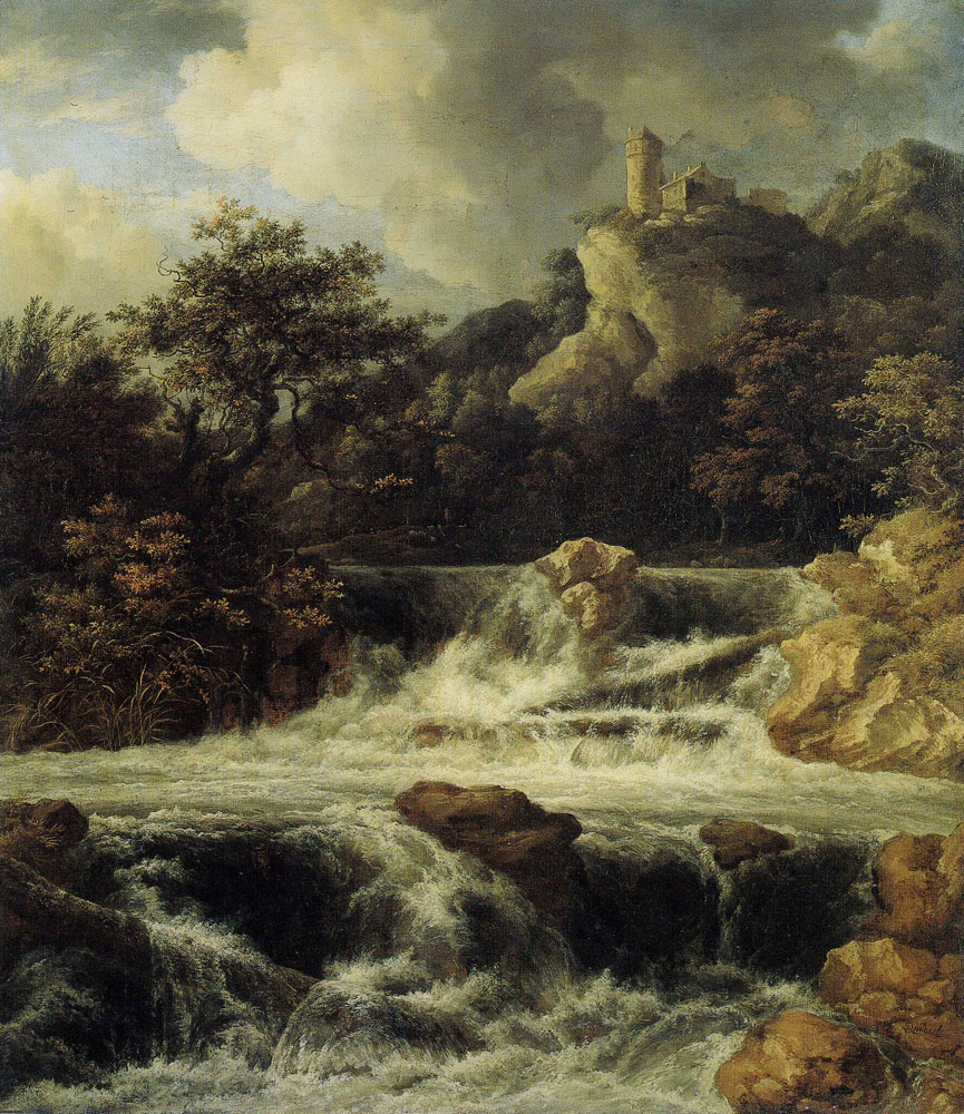 Jacob van Ruisdael - Waterfall in Two Cascades, with a Watch Tower
