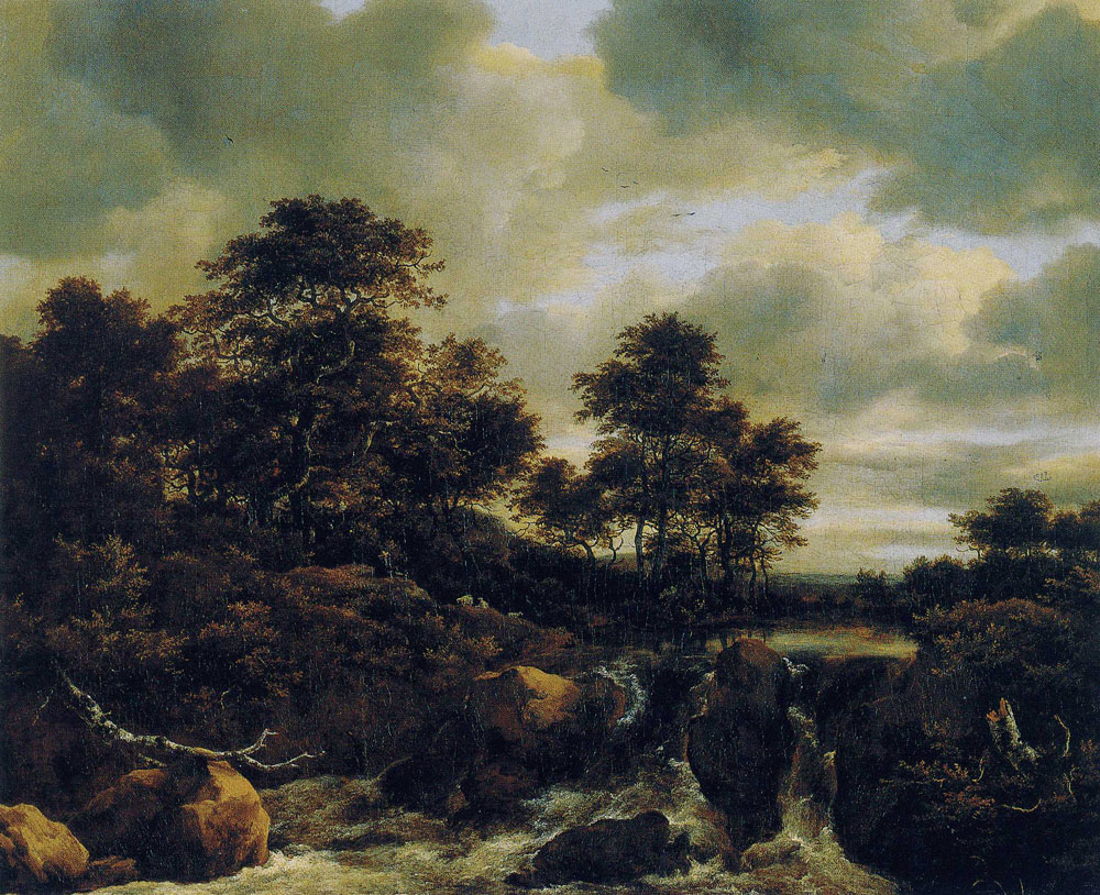 Jacob van Ruisdael - Waterfall with a Low Wooded Hill