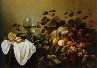 Pieter Claesz. and Roelof Koets Still Life with Fruit, Bread and Two Rummers