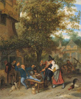 Cornelis Dusart A fiddler and peasants drinking and carousing outside a village inn