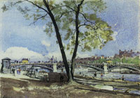 Henri-Joseph Harpignies - The Old Pont de Carrousel, Paris