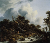 Jacob van Ruisdael Wooded Landscape with a Rushing Torrent