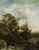 Jacob van Ruisdael Waterfall with Oak and Fir Trees