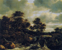 Jacob van Ruisdael Waterfall with a Low Wooded Hill