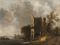 Jan van Goyen - A River Landscape with Fishermen in Boats, before a Ruined Tower