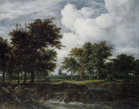 Jacob van Ruisdael - Low Waterfall in a Wooded Landscape with a Church and Windmill in the Distance
