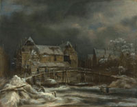 Jacob van Ruisdael A winter landscape with a view of a town and wooden bridge