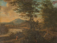 Willem de Heusch Italian Landscape at Sunset