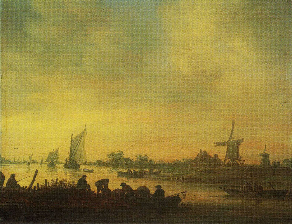 Jan van Goyen - A River Scene with Fishermen