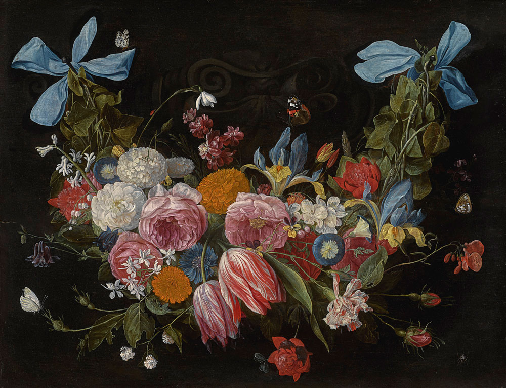 Jan van Kessel the Elder - A Swag of Flowers Fixed with Two Blue Ribbons