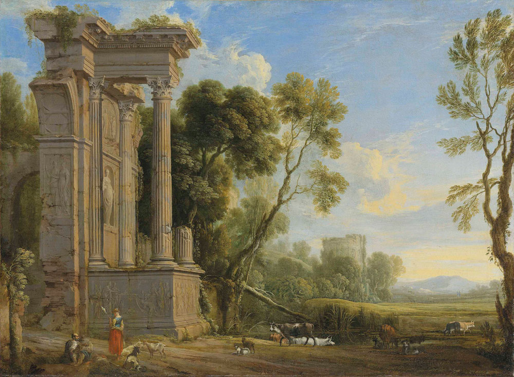 Pierre Patel the Elder - An Italianate river landscape with figures resting by ruins with their herd